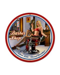 Barber Shop, Pinup Girls, Round Metal Sign, 14 X 14 Inches