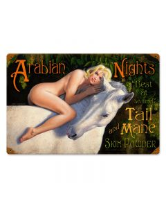 Arabian Nights, Pinup Girls, Vintage Metal Sign, 18 X 12 Inches