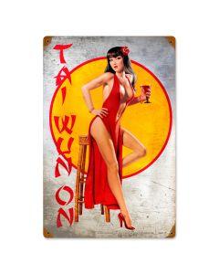 Tai Wun On, Pinup Girls, Vintage Metal Sign, 12 X 18 Inches