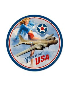 USA B17, Pinup Girls, Round Metal Sign, 14 X 14 Inches