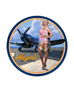 Angels Corsair, Pinup Girls, Round Metal Sign, 14 X 14 Inches