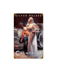 Silver Palate Champagne, Pinup Girls, Vintage Metal Sign, 12 X 18 Inches