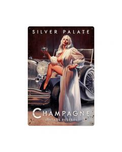 Silver Palate Champagne, Pinup Girls, Metal Sign, 24 X 36 Inches