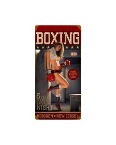 Championship Boxing, Pinup Girls, Vintage Metal Sign, 12 X 24 Inches