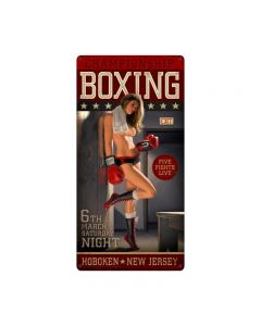 Championship Boxing XL, Pinup Girls, Vintage Metal Sign, 18 X 36 Inches
