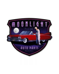 Moonlight Auto Parts, Pinup Girls, Custom Metal Shape, 30 X 25 Inches