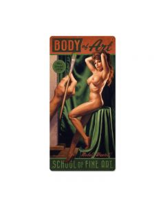 Body Of Art, Pinup Girls, Metal Sign, 12 X 24 Inches