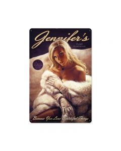 Jennifers Fine Clothing, Pinup Girls, Metal Sign, 12 X 18 Inches