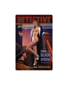 Detective Magazine Black Widow, Pinup Girls, Metal Sign, 24 X 36 Inches