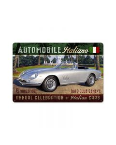 Automobile Italiano, , Vintage Metal Sign, 18 X 12 Inches