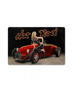 Hot Rod Large, , Vintage Metal Sign, 36 X 24 Inches