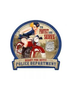Police Bike, Motorcycle, Round Banner Metal Sign, 16 X 15 Inches