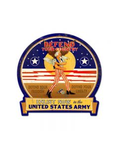 Defend Your Country, Allied Military, Round Banner Metal Sign, 16 X 15 Inches