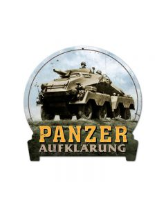 Panzer, Axis Military, Round Banner Metal Sign, 16 X 15 Inches