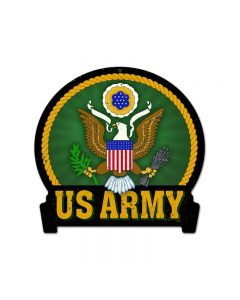 Army, Allied Military, Round Banner Metal Sign, 16 X 15 Inches