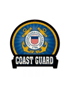 Coast Guard, Allied Military, Round Banner Metal Sign, 16 X 15 Inches