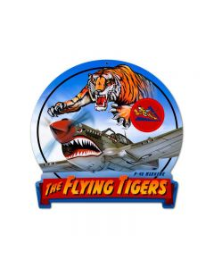 Flying Tiger, Aviation, Round Banner Metal Sign, 16 X 15 Inches