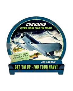 Corsairs Climb, Aviation, Round Banner Metal Sign, 15 X 16 Inches