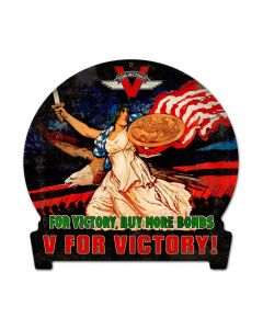 V for Victory, Allied Military, Round Banner Metal Sign, 15 X 16 Inches