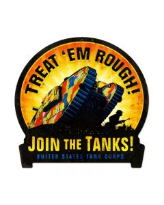 Join The Tanks, Allied Military, Round Banner Metal Sign, 15 X 16 Inches