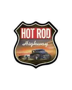 Hot Rod Highway, Automotive, Shield Metal Sign, 15 X 15 Inches