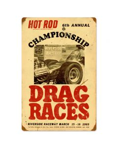 championship Drag Races, Automotive, Vintage Metal Sign, 16 X 24 Inches