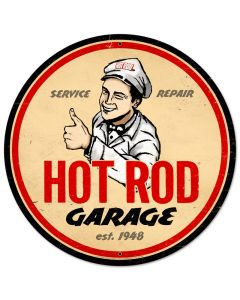Hot Rod Garage, Automotive, Round Metal Sign, 28 X 28 Inches