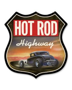 Hot Rod Highway, Automotive, Shield Metal Sign, 28 X 28 Inches