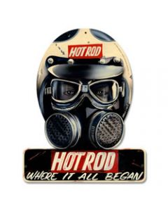 Where it all Began, Automotive, Helmet Metal Sign, 12 X 15 Inches