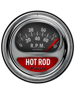 Hot Rod Tach, Automotive, Round Metal Sign, 28 X 28 Inches