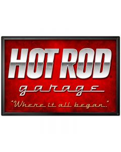 Hot Rod Garage, Automotive, Metal Sign, 36 X 24 Inches