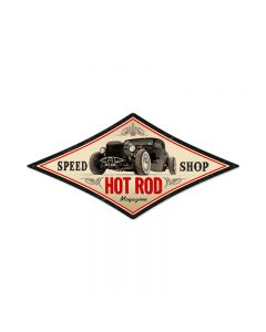Speed Shop, Automotive, Diamond Metal Sign, 22 X 14 Inches