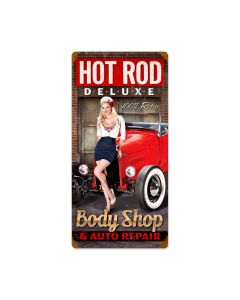 Body Shop, Automotive, Vintage Metal Sign, 12 X 24 Inches