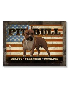 American Pit Bull,  Dog, METAL Sign, Optional Reclaimed BarnWood Frame, American Steel, Wall Decor, Wall Art, Vintage