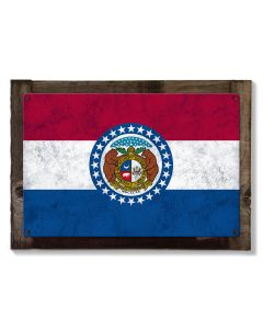 Missouri State Flag, Where the Rivers Run, Metal Sign, Optional Rustic Wood Frame, Wall Decor, Wall Art, Vintage, FREE SHIPPING!