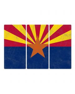"Arizona State Flag, The Grand Canyon State, Triptych Metal Sign, Wall Decor, Wall Art, Vintage, 54""x36"""