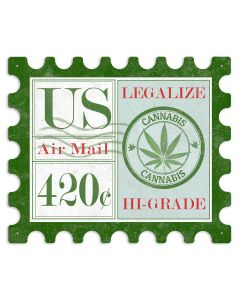 "US Air Mail Postage 420 Marijuana Stamp Metal Sign 16"" x 19"""