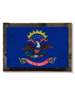 North Dakota State Flag, Legendary, Metal Sign, Optional Rustic Wood Frame, Wall Decor, Wall Art, FREE SHIPPING!