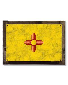 New Mexico State Flag, Land of Enchantment, Metal Sign, Optional Rustic Wood Frame, Wall Decor, Wall Art, Vintage, FREE SHIPPING!