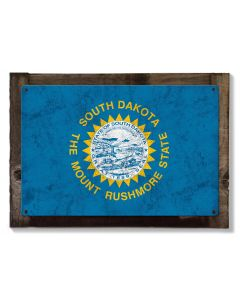 South Dakota State Flag, Great Faces. Great Places,  Metal Sign, Optional Rustic Wood Frame, Wall Decor, Wall Art, Vintage, FREE SHIPPING!