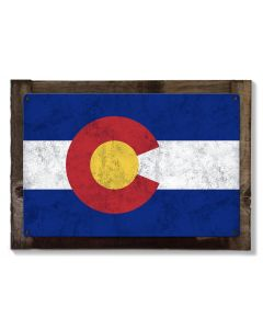 Colorado State Flag, The Centennial State, Metal Sign, Optional Rustic Wood Frame, Wall Decor, Wall Art, Vintage, FREE SHIPPING!