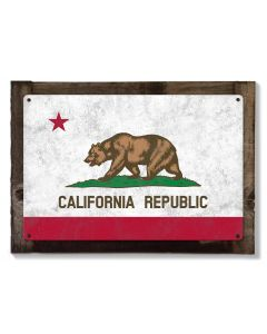 California State Flag, California Bear, Eureka! ; The Golden State, Metal Sign, Optional Rustic Wood Frame, Wall Art, FREE SHIPPING!