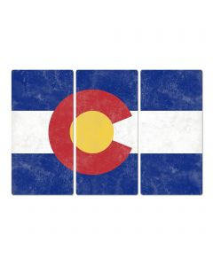 "Colorado State Flag, The Centennial State, Triptych Metal Sign, Wall Decor, Wall Art, Vintage, 54""x36"""