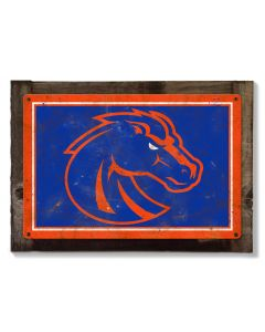 Boise State Broncos, Wall Art, Rustic Metal Sign, Optional Rustic Wood Frame, College Teams, Mascots, and Sports, Free Shipping