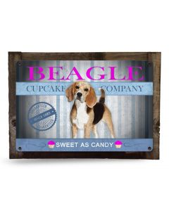 "Beagle, Cupcake Company, Sweet As Candy, Beagle Wall Art, Beagle Art, Beagle Wall Decor, Beagle Decor, Dog Metal Sign, Wood Frame 18"" x 12"""