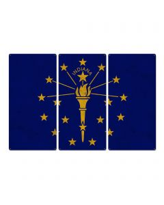 "Indiana State Flag, Honest-to-Goodness Indiana, Triptych Metal Sign, Wall Decor, Wall Art, Vintage, 54""x36"""
