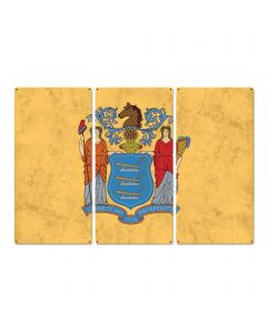 """New Jersey State Flag, Liberty & Prosperity, Triptych Metal Sign, Wall Decor, Wall Art, Vintage, 54""""x36"""""""