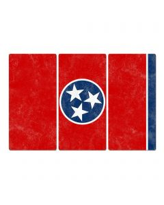 "Tennessee State Flag, The Volunteer State , Triptych Metal Sign, Wall Decor, Wall Art, Vintage, 54""x36"""