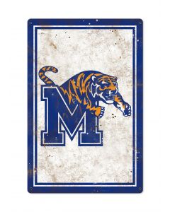 Memphis Tigers, Wall Art, Rustic Metal Sign, Optional Rustic Wood Frame, College Teams, Mascots, and Sports, Free Shipping