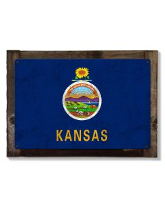 Kansas State Flag, Kansas, as big as you think, Metal Sign, Optional Rustic Wood Frame, Wall Decor, Wall Art, FREE SHIPPING!